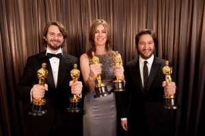 "Mark Boal, Kathryn Bigelow and Greg Shapiro of ""The Hurt Locker"""