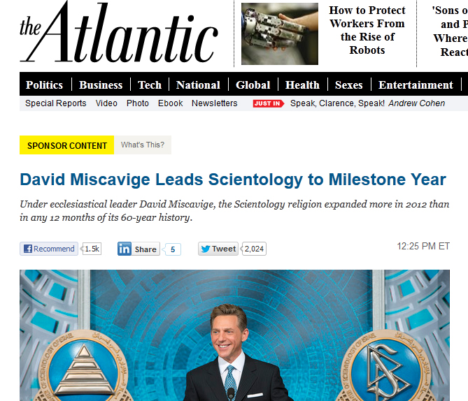 Sponsored content in 2013 from The Atlantic posting an ad for the Church of Scientology.