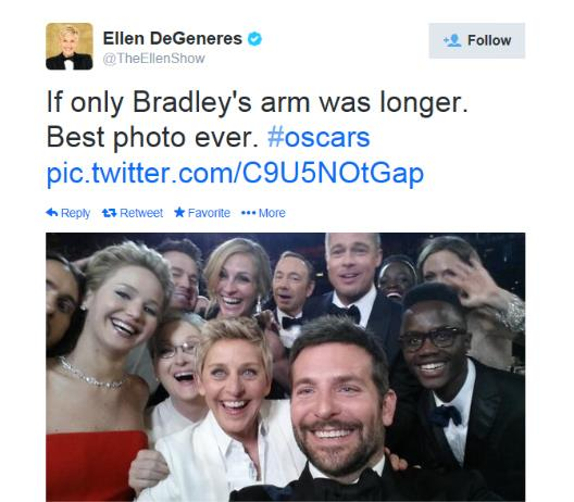 Ellen DeGeneres' selfie at the 2014 Annual Academy Awards.
