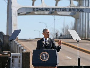 President Obama speaking on the 50th anniversary of the civil rights march across the Edmund Pettus Bridge in Selma.